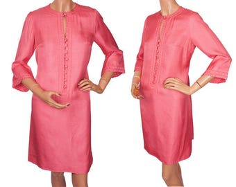 Vintage 1960s Hot Pink Silk Dress - M