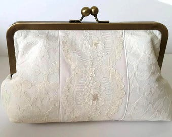 BRIDES CLUTCH made from Mothers Wedding Dress Clutch, custom keepsake,  heirloom -  Gift from Mother of the Bride to the Bride.