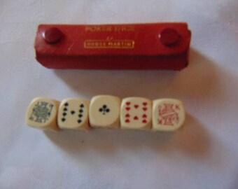 Poker dice bakelite in vintage red leather case