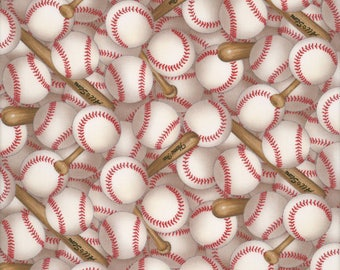 "Cotton Baseball Quilting Fabric Elizabeth Studios Patter 112 Tossed Baseballs and Bats - Last Piece 30"" x 44"""