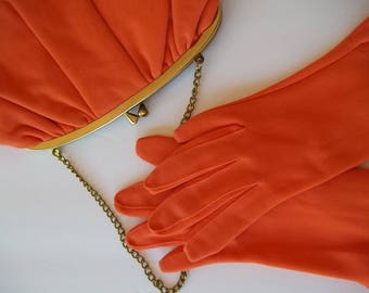 Vintage 60's Orange small Purse and matching Gloves