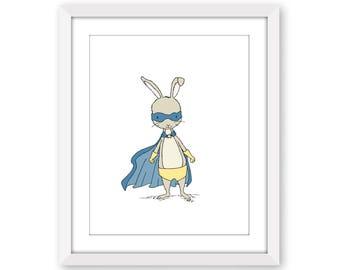 Superhero Art -- Superhero Bunny -- Animal Super Hero Art -- Nursery Art Print -- Bunny Art -- Children Art Print -- Kids Wall Art