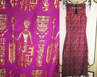 Vintage Tiki Tribal Dress in Purple, Red and Metallic Gold. XS XXS