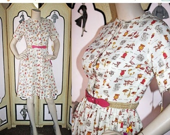 ON SALE Vintage 60's Shirtwaist Dress in Novelty Print of Scales and Measures. DEADSTOCK. Xs Small.