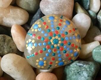 Handpainted Mandala Stone with Engraving on Reverse side