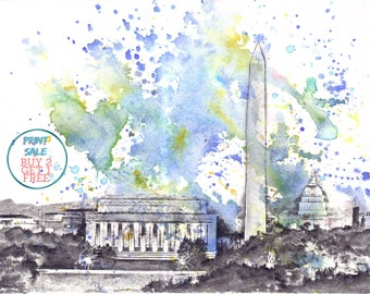 Washington DC Cityscape Skyline Landscape Art Print From Original Watercolor Painting 13 x 19 in Wahington DC Art Print