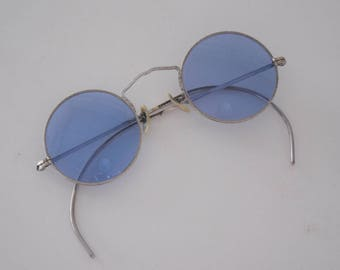 RESERVED 1930's Silver Metal Blue Lens Sunglasses Gorgeous