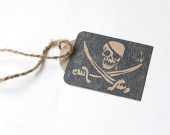 PIRATE favour tags, PIRATE gift tags, thank you tags, pirate thank you tags, pirate favour bag tags, skull and cross bones  X 10