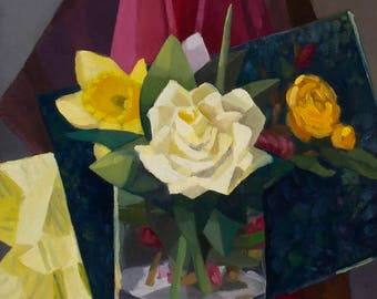 White Rose and Daffodil - Original Painting