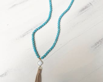 Beaded Tassel Necklace with Turquoise Beads, White Chalcedony Clover Charm & Taupe Suede Tassel