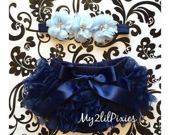 SALE Baby Girl Ruffle Bottom Bloomer with Satin bow and Headband Set- Navy Blue Headband. Flower Headband, Diaper cover, set ,Newborn bloome