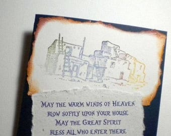 CHEROKEE PRAYER BLESSING - Native American Inspired Mixed Media Greeting Card (wedding, housewarming)