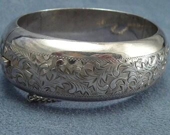 Sterling Engraved Bracelet Vintage Antique Hinged