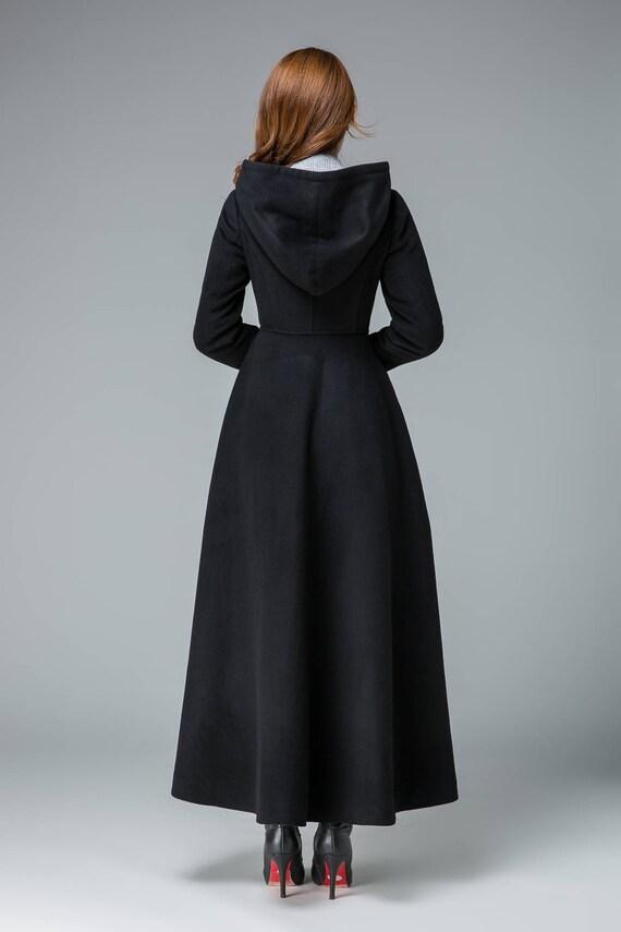 black winter coat wool coat winter coat trench coat hooded