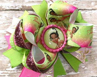 Tiana Hair Bow, Princess and the Frog Hair Bow, Disney Princess Bow, Newborn Headband, Infant Headband, Baby Headband, Princess Hair Bow