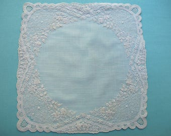 Hanky Swiss Appenzell Hand Embroidery Needle Lace Embroidered Roses Antique Whitework on Linen Victorian c1900 Bridal Wedding Handkerchief