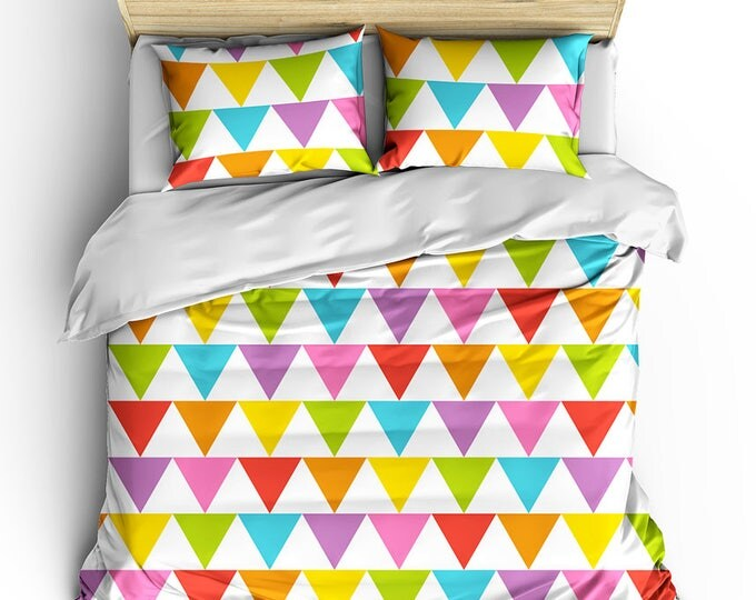 Duvet Cover, Geometric Pattern Duvet, Rainbow Bed Set, Grad Gift, GLBTQ Gift, Teen Room Decor, Summer Bed Set, Modern Bedroom Decor, Rainbow