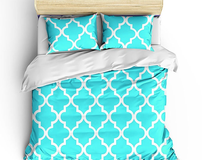 Modern Bed Set, Bed Duvet, Quatrefoil Pattern, Boho chic decor, Boho Bedding, Moroccan Design, Dorm Decor, Grad Gift, Women's bedroom set