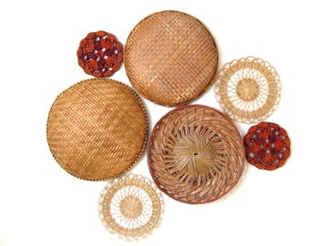 Vintage Wicker and Wovens Wall Hanging Collection