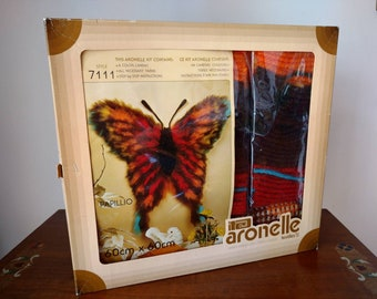 Vtg 1980s Aronelle Papillio Butterfly 24 inch Polyester Color Canvas Latch Hook Kit
