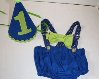 lime green royal blue cake smash outfit first birthday outfit 1st birthday hat suspenders diaper cover bow tie birthday hat smash cake boy