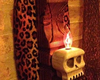 custom handmade carved wood witco style tiki wall sconce