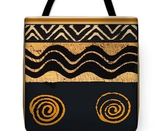 African Mud Cloth Inspired Design Tote Bag - African SilkyPoly Throw Pillow - Laptop Bag - ReUsable Tribal Shopping Bag - Airline Travel Bag