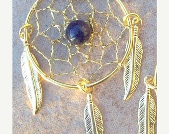 SALE GOLDSTONE and GOLD Feathers Large Dream catcher earrings with Goldstone