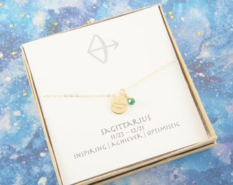 gold zodiac SAGITTARIUS necklace, birthday gift, custom personalized, gift for women girl, minimalist, simple necklace, layered