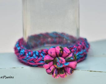 Crocheted Bracelet with Polymer Clay Flower Charm, Charm Bracelet, Flower Bracelet,Polymer Clay Charm, Made to fit You, My design, Unique