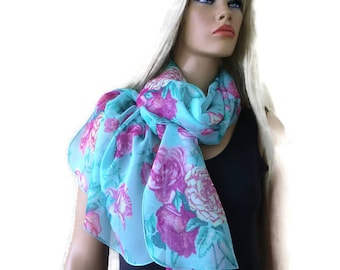 Aqua garden long floral chiffon scarf -Parisian Neck Tissu- Long summer scarves