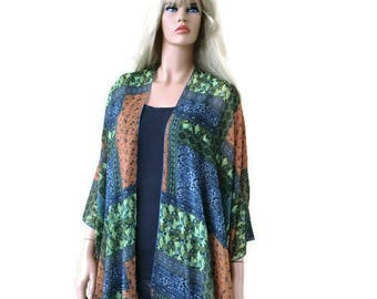 Boho Kimono- Patchwork print -settled Blue,green and orange-Lagenlook style-Kimono cardigan -  Chiffon summer collection