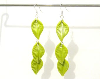 Lime Green Leaf Dangle Earrings - Silver Plated - 3.5 inch long - green and silver - botanical nature inspired