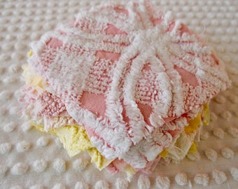 Vintage Chenille Fabric Quilt Squares - 20 - 6 inch squares, pink & yellow - 500-279