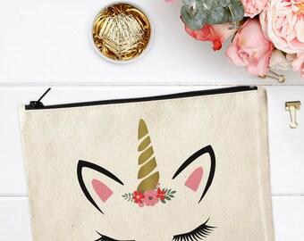 Unicorn Makeup Bag, Canvas Makeup Bag, Unicorn Make Up Pouch, Canvas pouch, Cosmetic pouch, Cosmetic Bag, Unicorn Makeup Bag, Unicorn Pouch