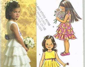 Uncut, Child Size 2, 3, 4, 5, Sewing Pattern, Butterick B4967, 4967, Toddler Girl, Ruffled Tiered Dress, Sleeveless, fancy party, formal