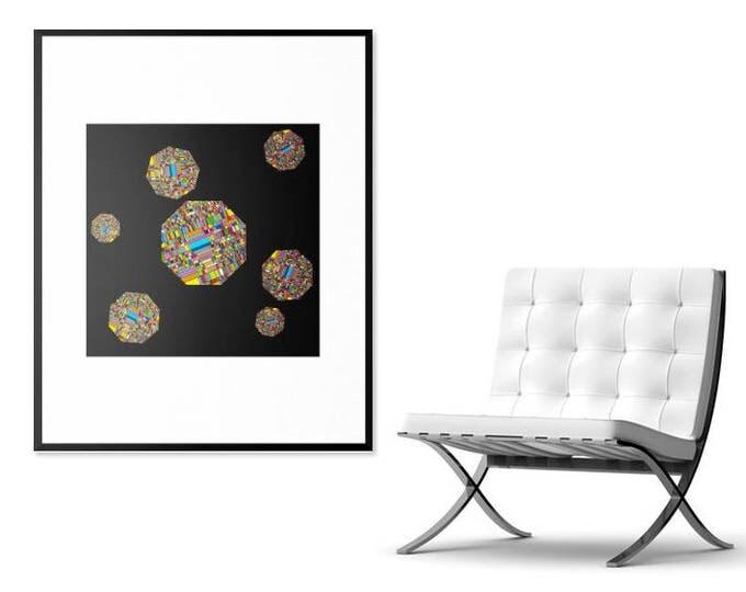 Pixelated Octagons Print
