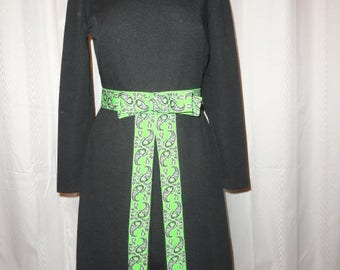 Vintage Dress Black with 1970S Neon Green Paisley Accent