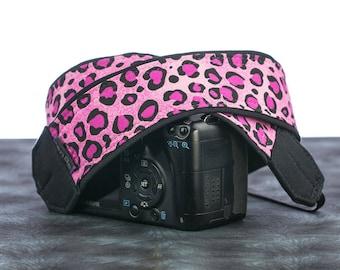Pink Leopard, Camera Strap, Hot Pink, dSLR, SLR, 103