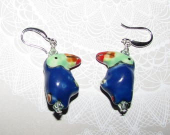 Tropical Toucan Bird with Swarovski Crystals and Sterling Silver on Etsy by APURPLEPALM