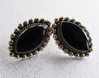 Vintage Taxco Mexico Sterling Silver & Onyx Earrings on Etsy by APURPLEPALM