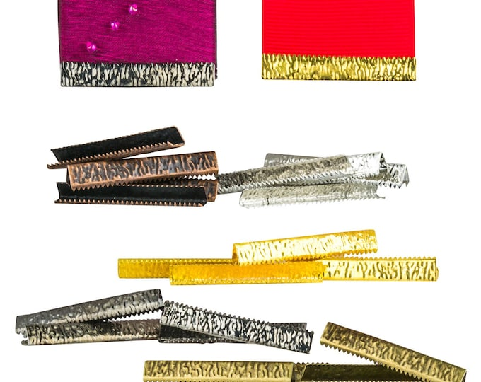38mm  ( 1  1/2 inch )  ** 20 pieces Mixed Finish Pack ** NO LOOP **  Ribbon Clamp End Crimps   - Artisan Series