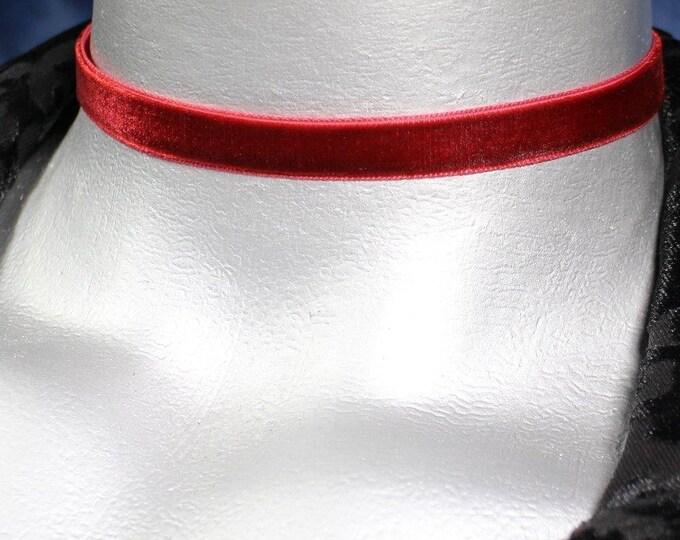 10mm Plain Dark Red Burgundy Velvet Choker