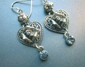 Heart Dangle Earrings Metal Roses Crystals Marcasite Beads