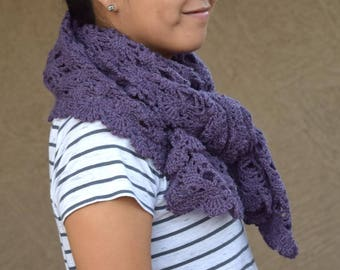 Crochet shawl lace scarf purple crochet wrap stole gift for her gift under 50 Christmas winter holidays
