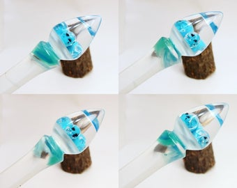 Acrylic Turned Skull Hair Stick, Hair Accessories, Hair Jewerly, Hair Toy, Hair Pin, Clear and Blueish, Turquoise Mist No 250