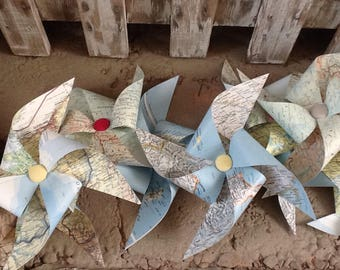 set of 5 map pinwheel tops