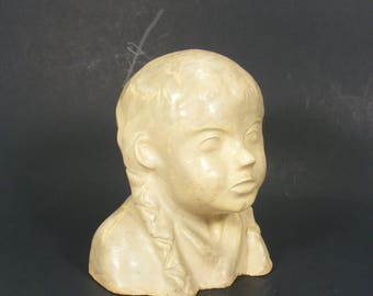Art Sculpture Girl with Braids Clay Bust Bookshelf Art Vintage Jena Age 6 1938