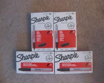 4 dozen brand new black fine tip Sharpies
