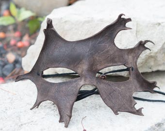 Brown Oak Leaf Split Leather Masquerade Mask